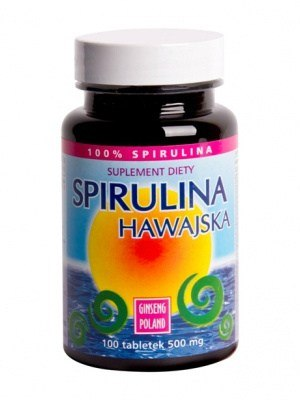 Ginseng Spirulina Hawajska 500 mg 100 Tabletek