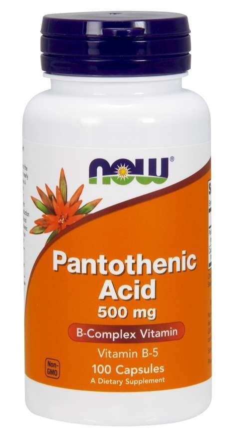 NOW FOODS Pantothenic Acid 500mg, 100caps. - kwas pantotenowy, witamina B5