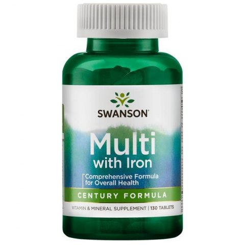 SWANSON Century Formula Multi with Iron 130tabl. - Multi Vitamin & Mineral Supplement